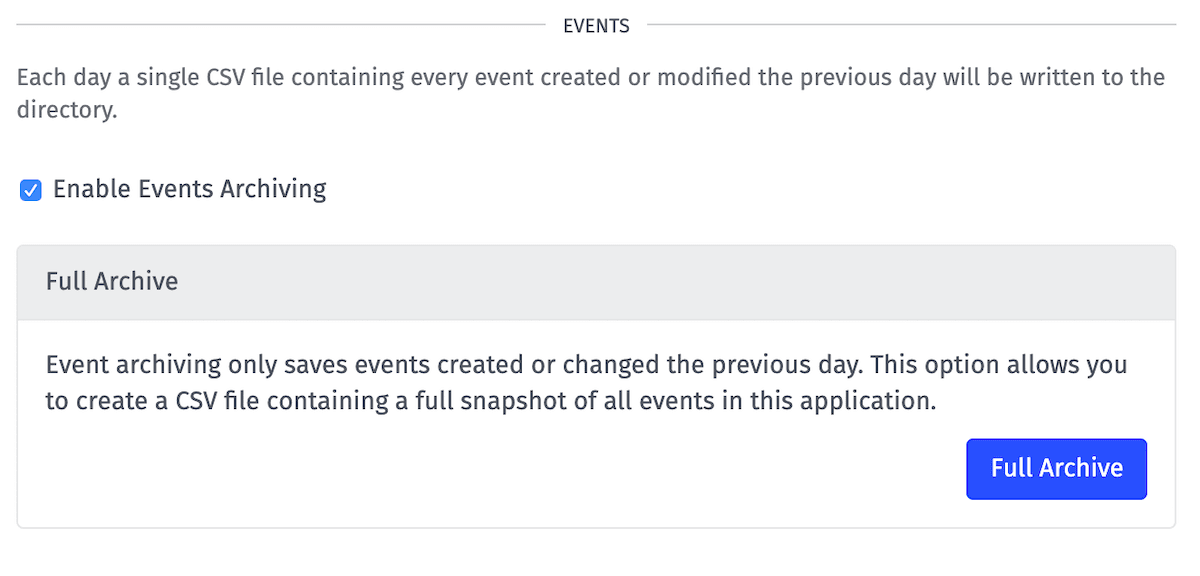 Application Archive Events