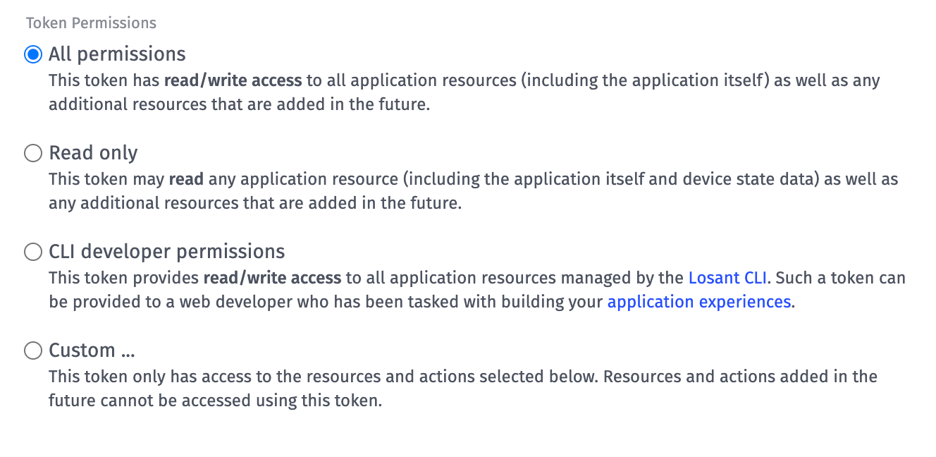 Application Token Permissions