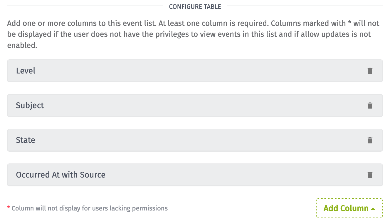 Event Column Configuration