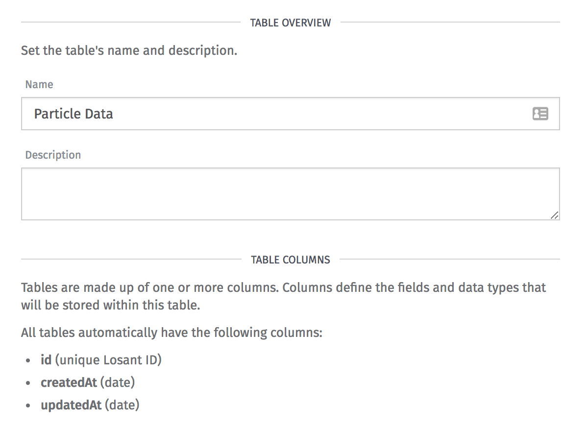 Data Table Name and Description