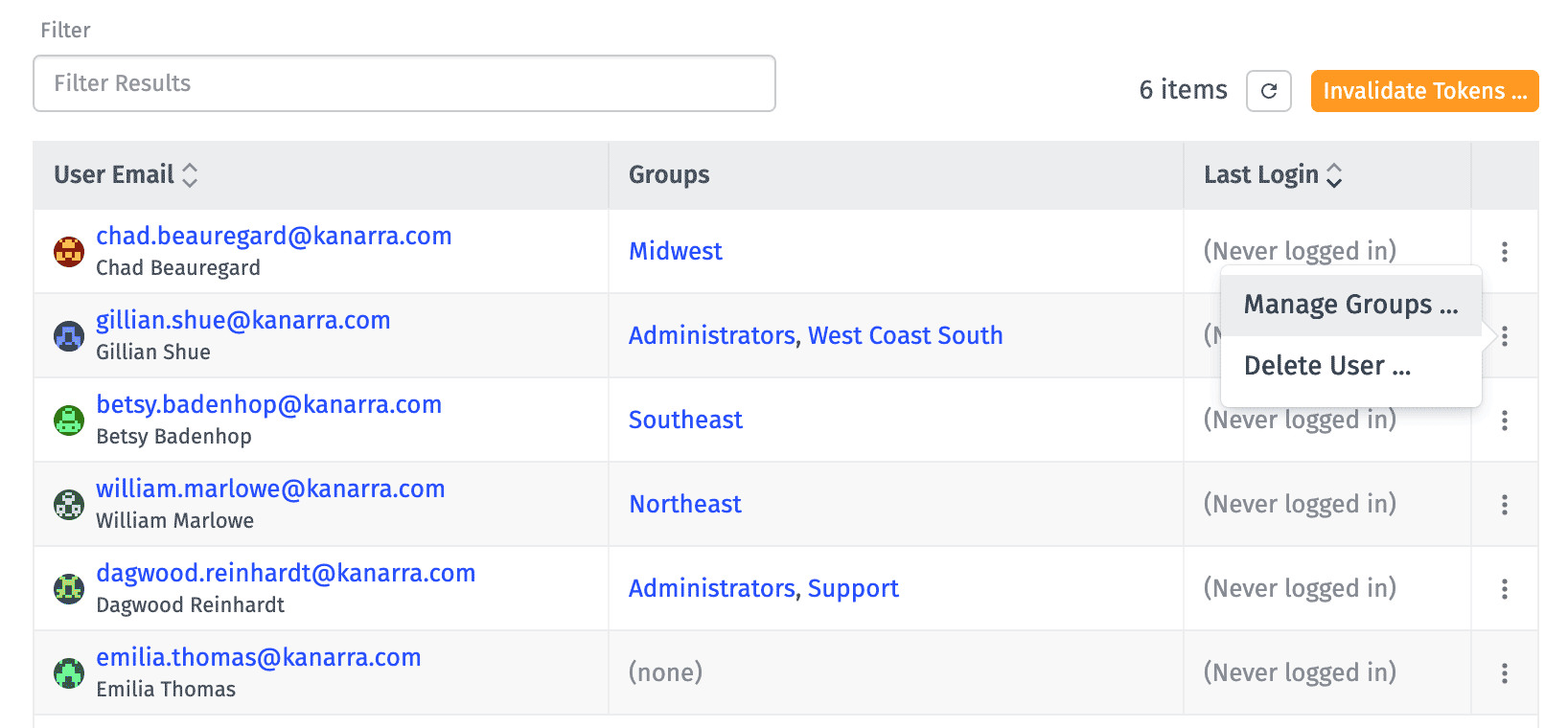 User List Manage Groups