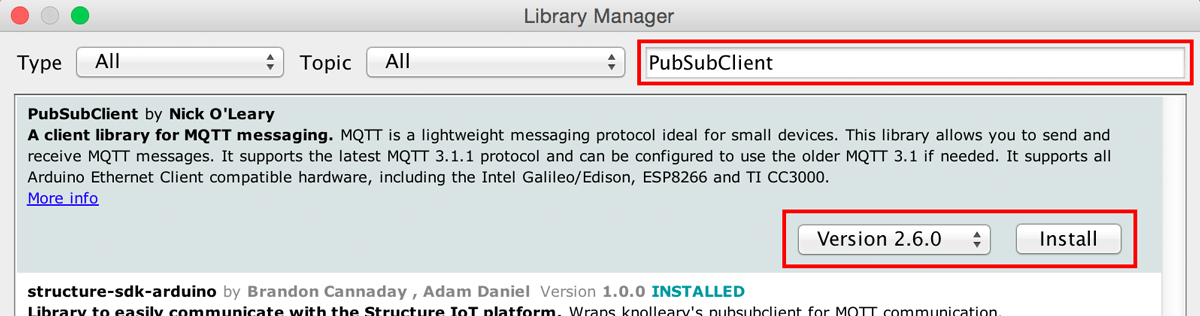 Install PubSubClient