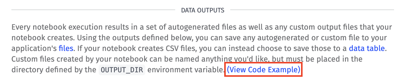 Notebook Outputs View Code Example Button