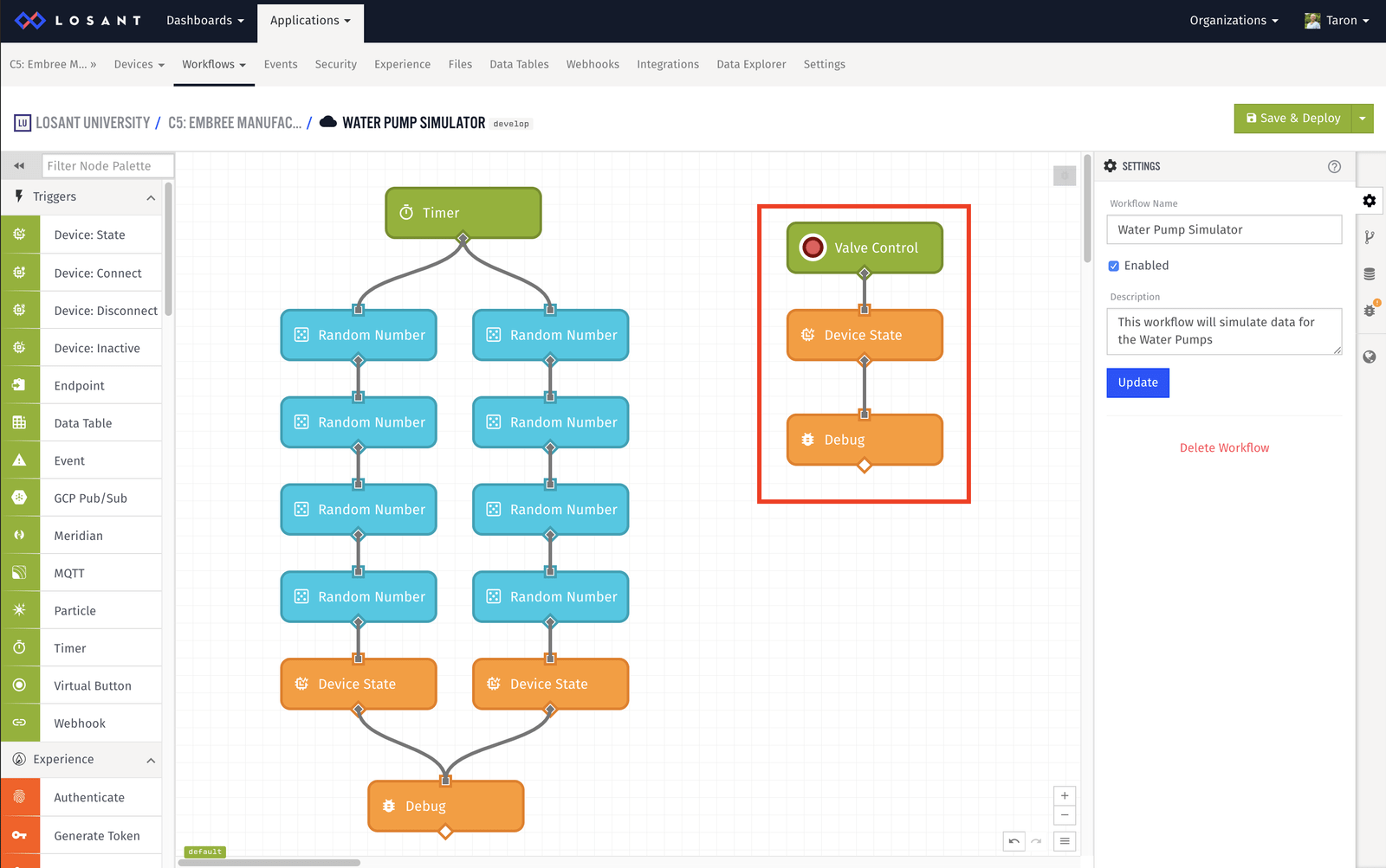Simulated workflow new path